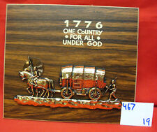 """Pressed Wood Plaque """"1776 One Country"""" Brass Wagon"""