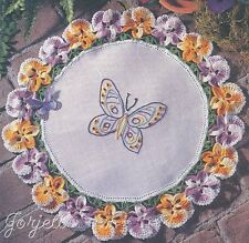 Tambour Work Pansy Doily & Shirt crochet patterns