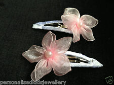 Girls organza Hair Clip baby, flowergirl, beach wedding (2x) Bridal christening