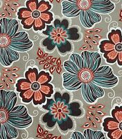 Turquoise Coral Gray Whimsical Large Floral Drapery Cotton Upholstery Fabric BTY