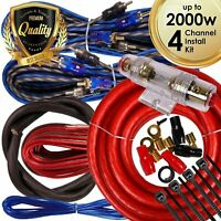 Complete 4 Channels 2000W 4 Gauge Amplifier Installation Wiring Kit Amp PK1 Red