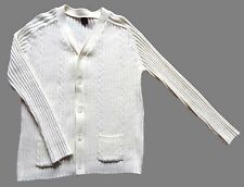 "Men's Vintage 80's Cream Ribbed Buttoned Cardigan Retro Mod Small 36"" Chest"