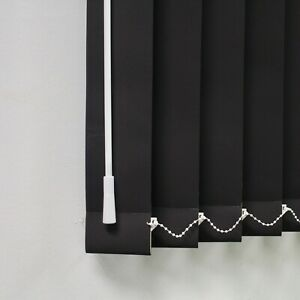 "Black Blackout Louvres 3.5"" Vertical Blind Replacement Slats"