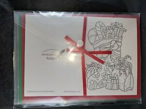 8pk Christmas Cards For Adult Coloring With Red and Green Envelopes Art-Elect