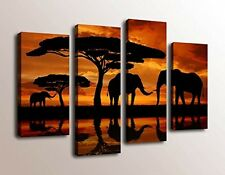 Africa Elephant Canvas Prints Wall Art Decor 4 Panel Large Animal Pictures Home