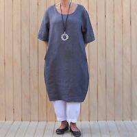 Ladies Lagenlook Quirky Quality Linen Tunic Top Dress 14 16 18 20 22 24 8765