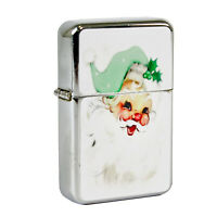 Refillable Oil Windproof Flip Top Lighter Santa Claus Mint Green Retro Vntg Img