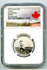 2018 $3 1/4+ OZ CANADA .9999 FINE SILVER CARIBOU NGC SP70 FIRST RELEASES RARE