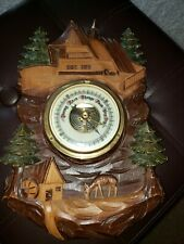 New listing German Wall Barometer Mounted in Carved Wood
