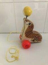Vintage Fisher Price Wooden Toy Pull Along Seal with Ball c1964 Used