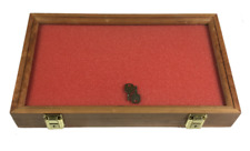 Cherry Wood Display Case 9 1/4  x 15 3/4  x 2 for Arrowheads Knives Coins & More