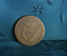 Ireland 1/2 Penny 1692 Copper World Coin William and Mary Hibernia Irish Harp