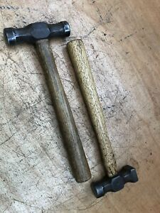 """2x Vintage Planishing Hammers (1x marked """"4"""", 1x marked Solid Steel)"""