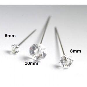 DIAMANTE, DIAMONTE PINS CLEAR ACRYLIC 6mm, 8mm or 10mm, CHOOSE SZ & QTY