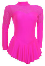 Skating Dress -TOFFEE PINK LYCRA/TOFFEE GLITTER MIST -L/S  ALL SIZES AVAILABLE