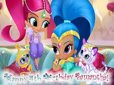 SHIMMER and Shine Edible ICING Image Personalize Birthday CAKE Topper Decoration