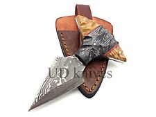 UD CUSTOM HANDMADE 1095 DAMASCUS STEEL  FULL TANG HUNTING KNIFE 455