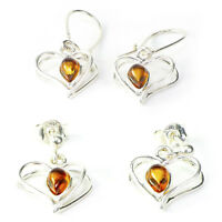 Stunning Heart Shaped 925 Sterling Silver Dangle Earrings with Baltic Amber Gift