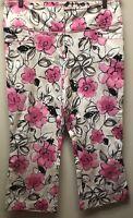 New Caché Women's Size 10 Beige Pink Floral Capri Cropped Pants $88