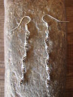 Navajo Indian Sterling Silver Twisted Dangle Earrings by Tsosie! Handmade