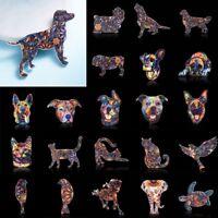 Women Acrylic Printing Flower Animal Dog Cat Elephant Horse Brooch Pin Jewellery