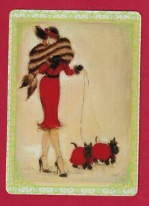 Beautiful Art Deco Lady and Scottie Dogs Modern Wide Linen Swap P/Card Lace Edge