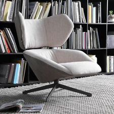 Living Room Wingback Leisure Chair Comfy Scandinavian Style Steel Leg Linen New