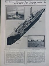 1914 SECTIONAL VIEW OF A GERMAN SUBMARINE IN THE NORTH SEA WW1 WWI