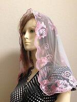 Pink Spanish style veils and mantilla church chapel scarf lace Mass Latin ROSE M