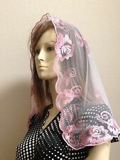 Pink Spanish style veils and mantilla church chapel scarf lace Mass Latin ROSE M