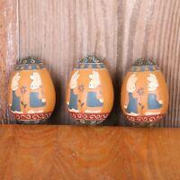 3 Vintage Painted Rabbits Wood Eggs