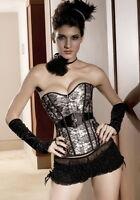 Sexy Women's Silver Floral Corset Elegant Ladies Overbust Underwear Lingerie