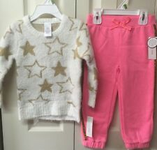 Girls Spring Outfit Two Piece Set Toddler Size 3T Sweater Pants Beige Pink