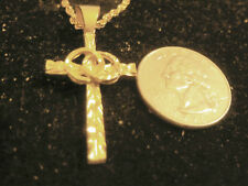 church cross crucifix pendant necklace jewelry bling gold plated 2 wedding bands