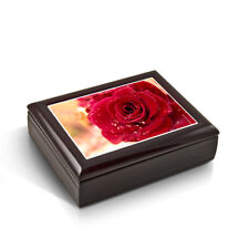 Romantic Red Rose With Water Beads Tile Musical Jewelry Box