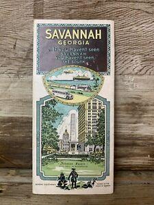 1930's Georgia Map Savannah Antique Car Truck Airplane Ships Railroads ORIGINAL