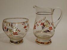 Vintage Hand Painted Glass Milk Jug and sugar Bowl Circa 60s