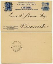LIBERIA 1879 STATIONERY REPLY CARD VFU MILLSBURG to BREWERVILLE SUPERB POSTMARKS