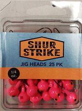 Shur Strike Jig Heads 1/4oz Pink 25 Value pack Bronze Hook Bass, Walley
