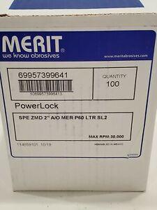 "Merit 69957399641 2"" 60 Grit Quick Change Disc Power Lock 30,000 RPM - 100 Ct"