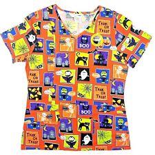 39698db22fd Scrubstar Womens Halloween Scrub Top Sz XS Orange V-Neck Trick Or Treat Boo  New