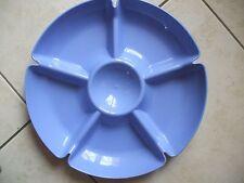 plat de service à compartiments en plastique bleu roy