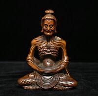 Old Tibet Buddhism Boxwood Wood Arhat Damo Bodhidharma Dharma Buddha Monk Statue
