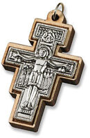 Saint St Francis of Assisi San Damiano Tau Cross Crucifix Pendant Charm, 1 7/8In