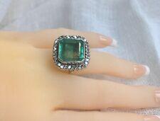 Art Deco Stunning 15.06ct Aaa Fine Natural Colombian Emerald & Diamond 18K Ring