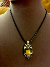 Amber Howlite & Coral Pendant In Solid Brass  On A Black Leather Necklace152