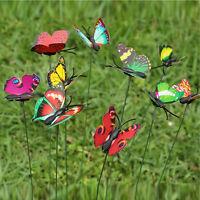 Colorful 7cm Butterfly Plastic On a Stick Plant Flower Pot Vase Garden Decor Hot