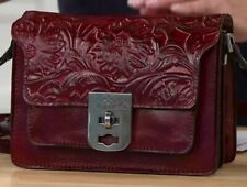 New Listing Patricia Nash Bailey Tooled Leather Three-Compartment Crossbody Oxblood-Nwot