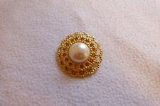 Faux Pearl Round Scarf Clip. Vintage Style Gold Colour &