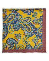 T.M.Lewin Mens Bordered Yellow Paisley Silk Pocket Square